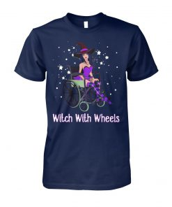 Halloween witch with wheels unisex cotton tee