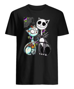 Jack skellington and sally cat men's shirt