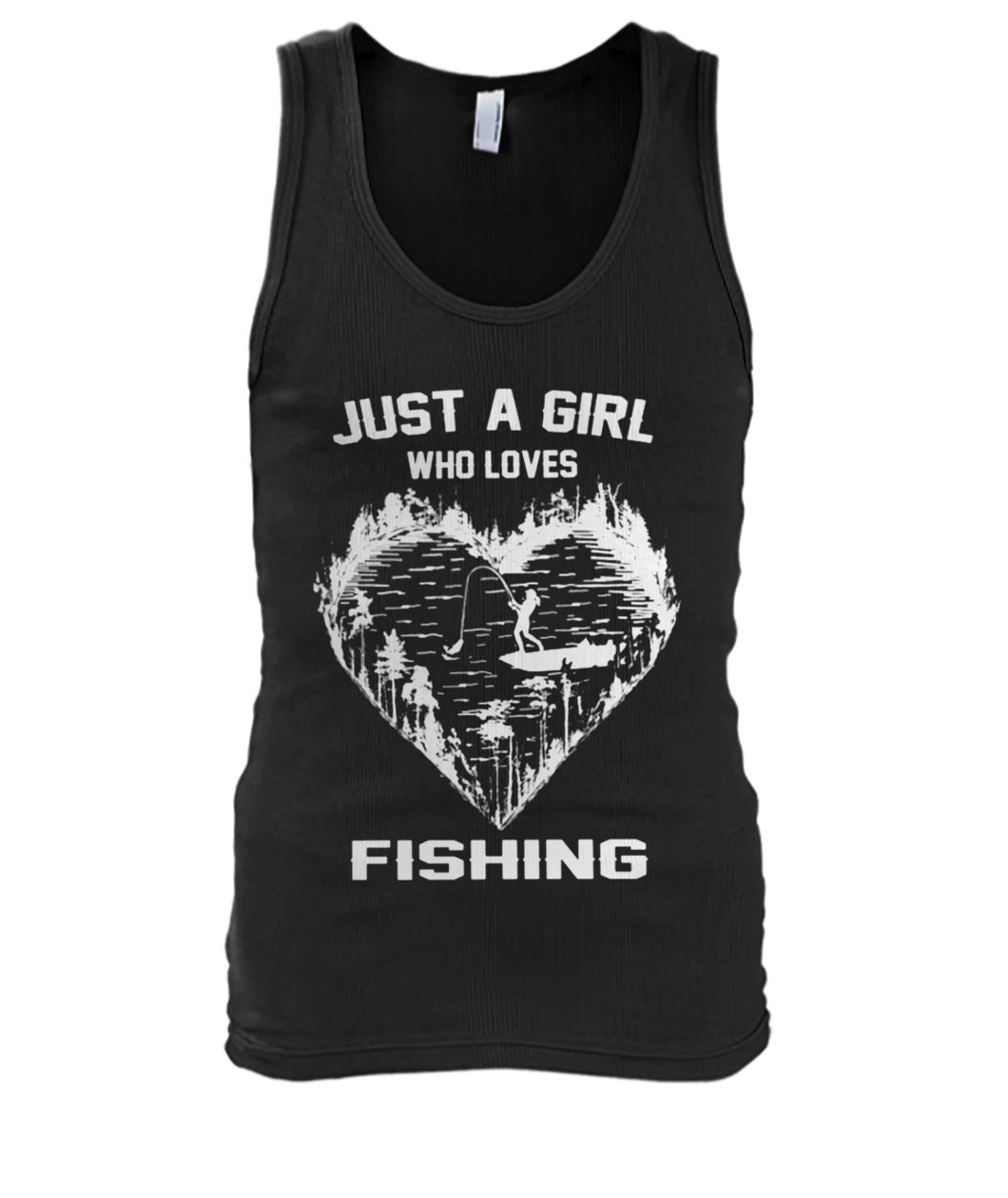 Just a girl who loves fishing men's tank top