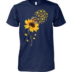 You are my sunshine dog paw sunflower unisex cotton tee