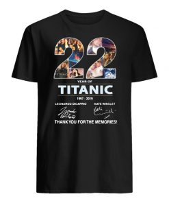 22 years of titanic 1997-2019 signature thank you for the memories men's shirt