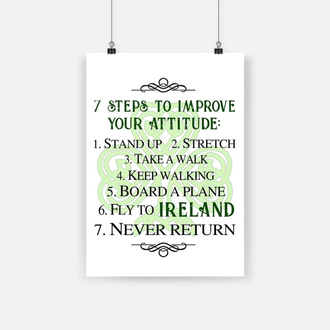 7 steps to improve your attitude fly to ireland poster - a1