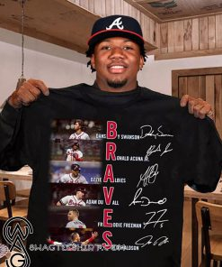 Atlanta braves players signatures mlb shirt