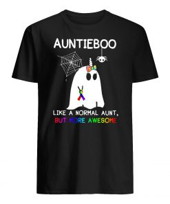 Auntieboo like a normal aunt but more awesome cancer ribbon mens shirt