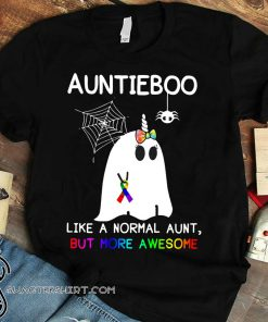 Auntieboo like a normal aunt but more awesome cancer ribbon shirt