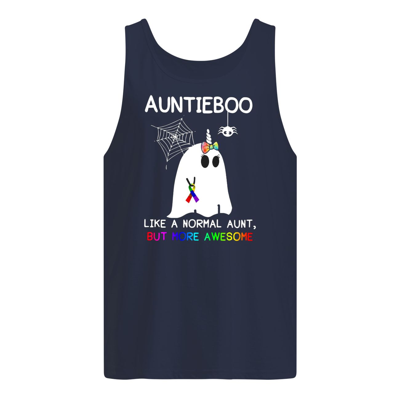 Auntieboo like a normal aunt but more awesome cancer ribbon tank top