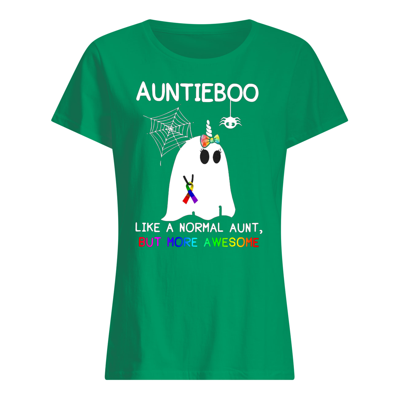 Auntieboo like a normal aunt but more awesome cancer ribbon womens shirt