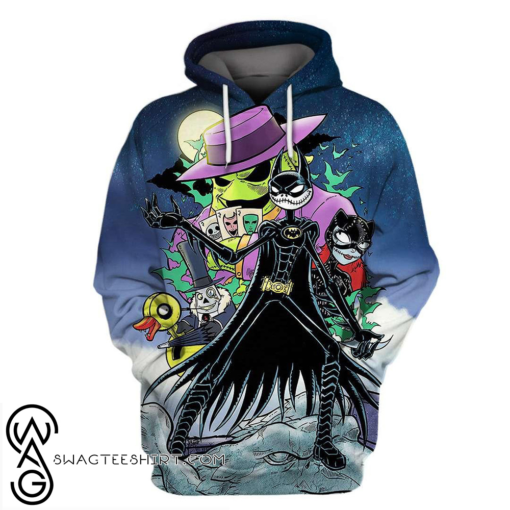 Batman and catwoman as jack and sally the nightmare before christmas 3d hoodie