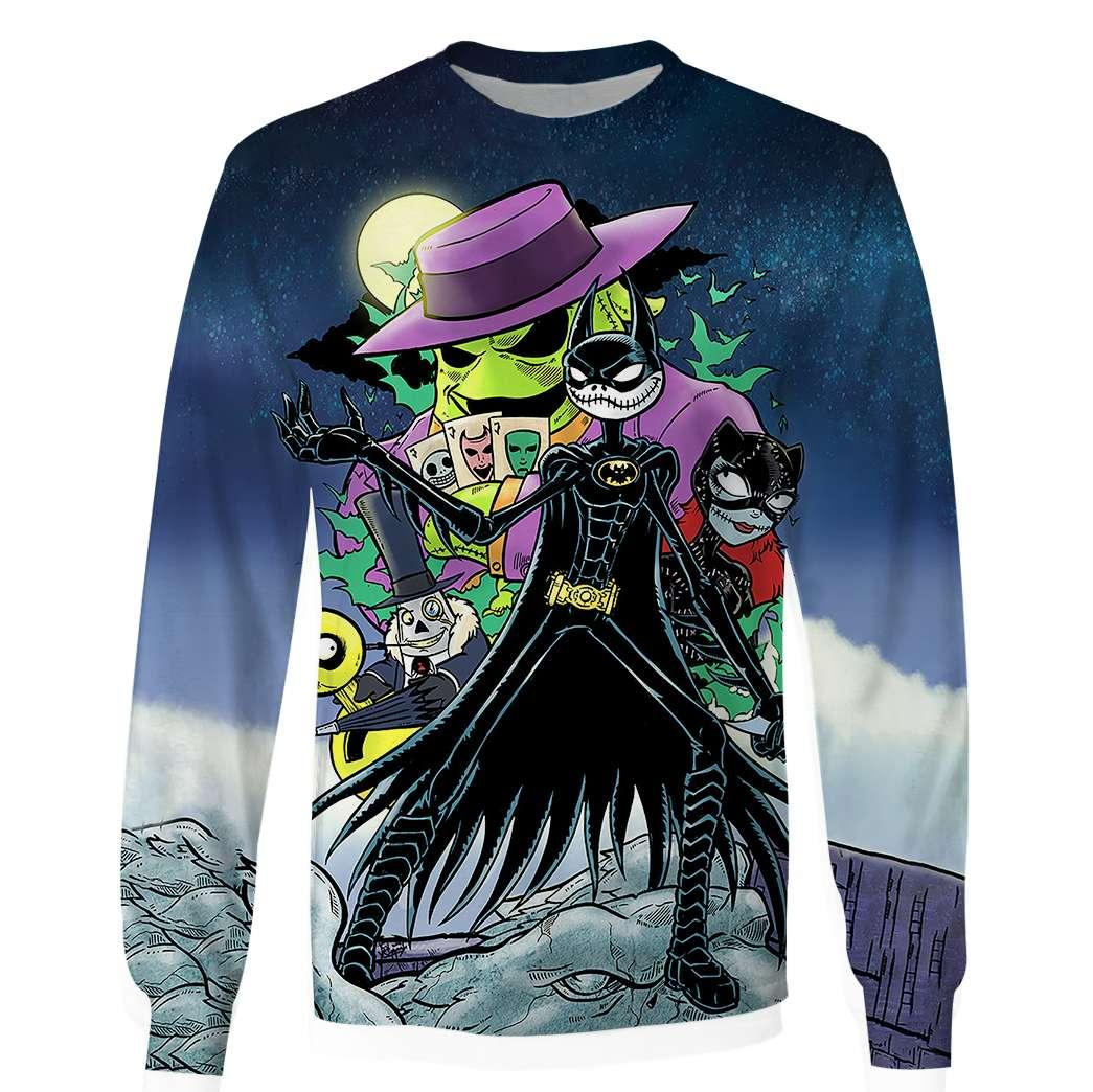 Batman and catwoman as jack and sally the nightmare before christmas 3d unisex long sleeve