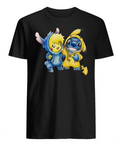 Cartoon movie baby pikachu and baby stitch mens shirt