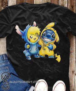 Cartoon movie baby pikachu and baby stitch shirt