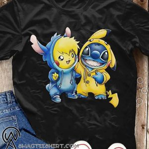 Cartoon movie baby pikachu and baby stitch shirt