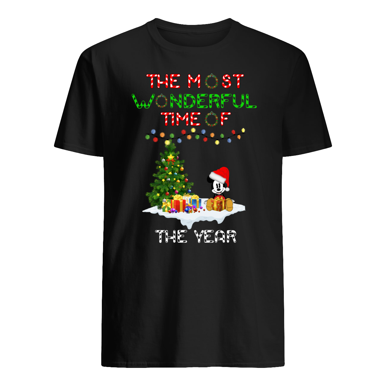 Christmas mickey mouse the most wonderful time of the year mens shirt
