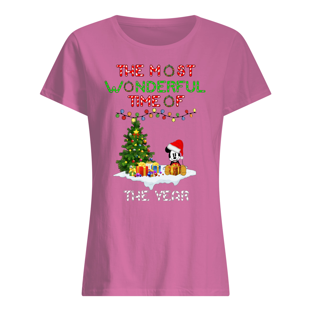 Christmas mickey mouse the most wonderful time of the year womens shirt