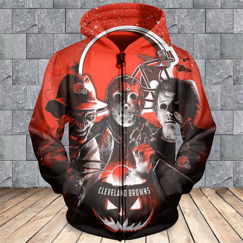 Cleveland browns horror movie characters 3d zipper hoodie - size l