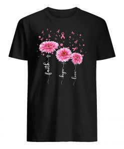 Faith hope love pink daisy flower breast cancer awareness mens shirt