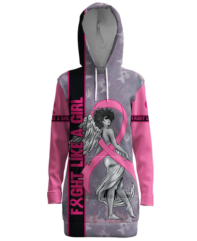Fight like a girl angel breast cancer awareness 3d hooded dress