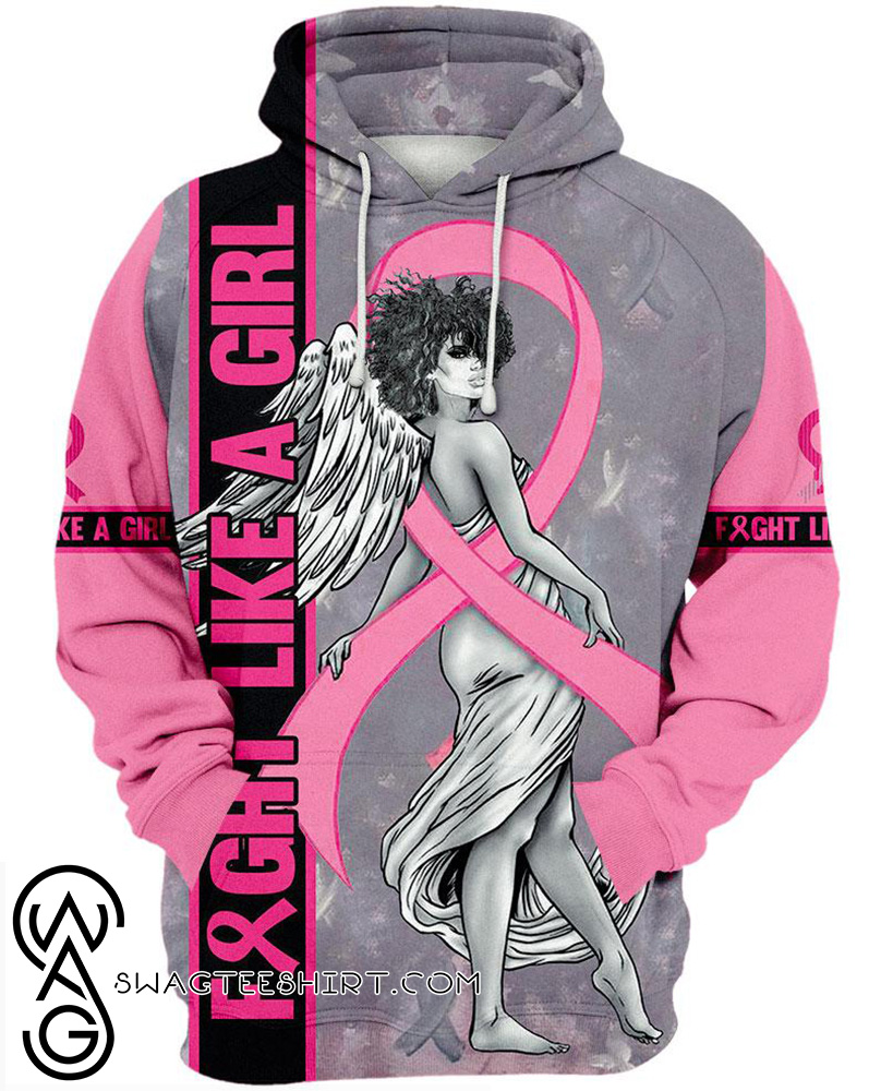 Fight like a girl angel breast cancer awareness 3d hoodie