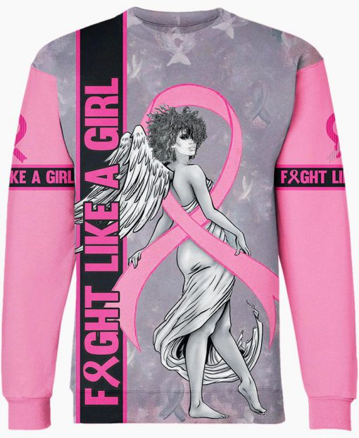 Fight like a girl angel breast cancer awareness 3d sweatshirt