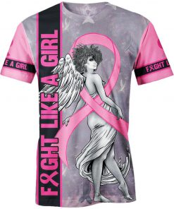 Fight like a girl angel breast cancer awareness 3d t-shirt