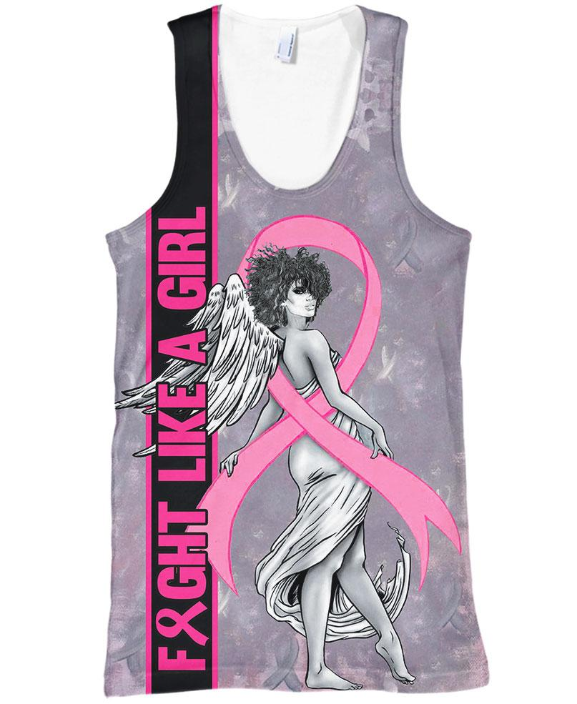 Fight like a girl angel breast cancer awareness 3d tank top