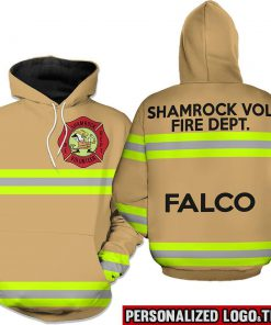 Firefighter shamrock vol fire dept falco 3d hoodie - brown