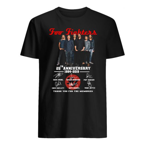 Foo fighters 25th anniversary 1994-2019 signatures thank you for the memories men's shirt