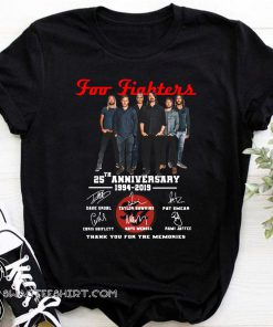 Foo fighters 25th anniversary 1994-2019 signatures thank you for the memories shirt