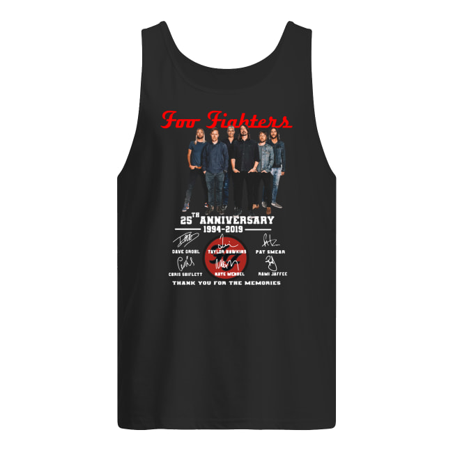 Foo fighters 25th anniversary 1994-2019 signatures thank you for the memories tank top