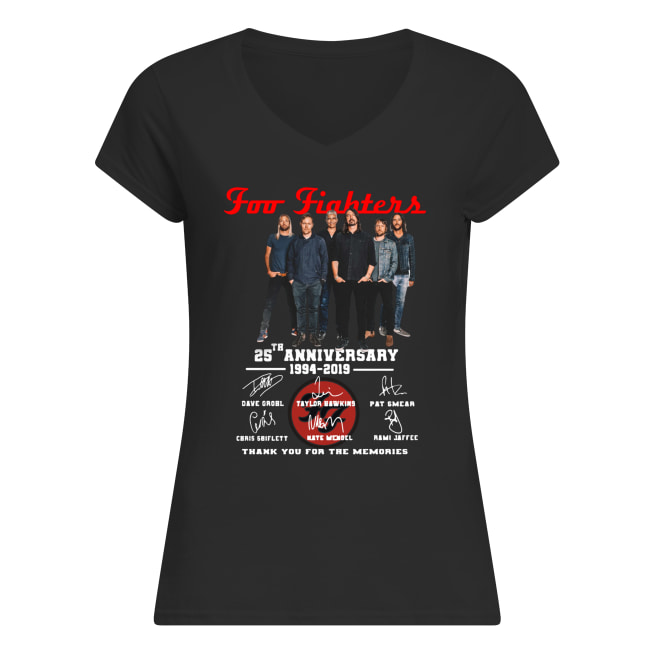 Foo fighters 25th anniversary 1994-2019 signatures thank you for the memories women's v-neck
