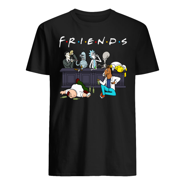 Friends tv show rick and morty pete and roger drinking buddies men's shirt