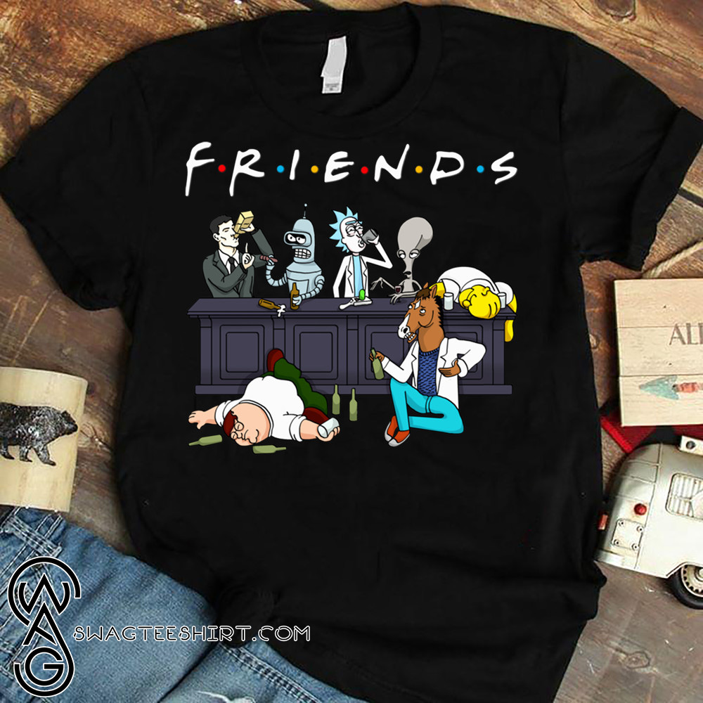 Friends tv show rick and morty pete and roger drinking buddies shirt