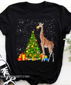 Giraffe and christmas tree shirt