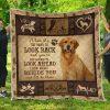 Golden retriever when it's too hard to look back quilt blanket