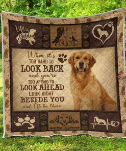 Golden retriever when it's too hard to look back quilt blanket