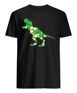 Green polka dot t-rex dinosaur international dot day men's shirt