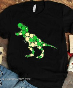 Green polka dot t-rex dinosaur international dot day shirt