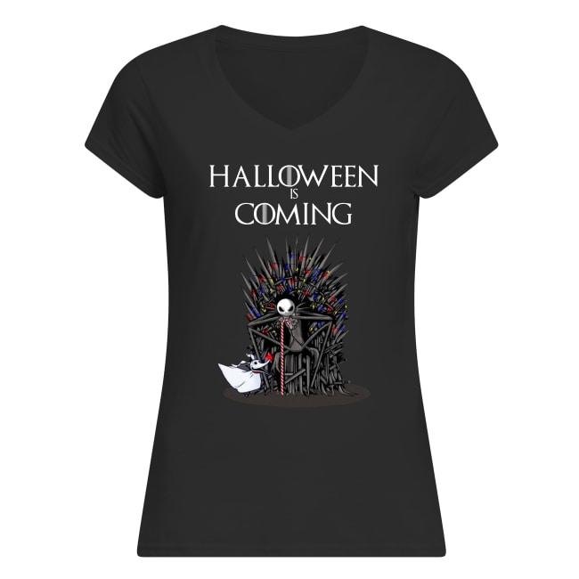 Halloween is coming jack skellington game of thrones women's v-neck