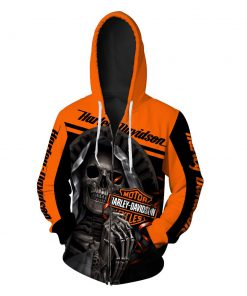 Harley-davidson motorcycle skull 3d zipper hoodie