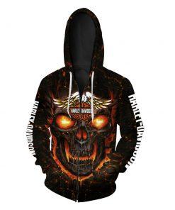 Harley-davidson motorcycles skull 3d zip hoodie