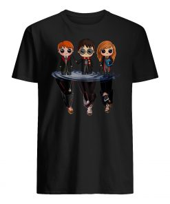 Harry potter characters chibi water mirror reflection mens shirt