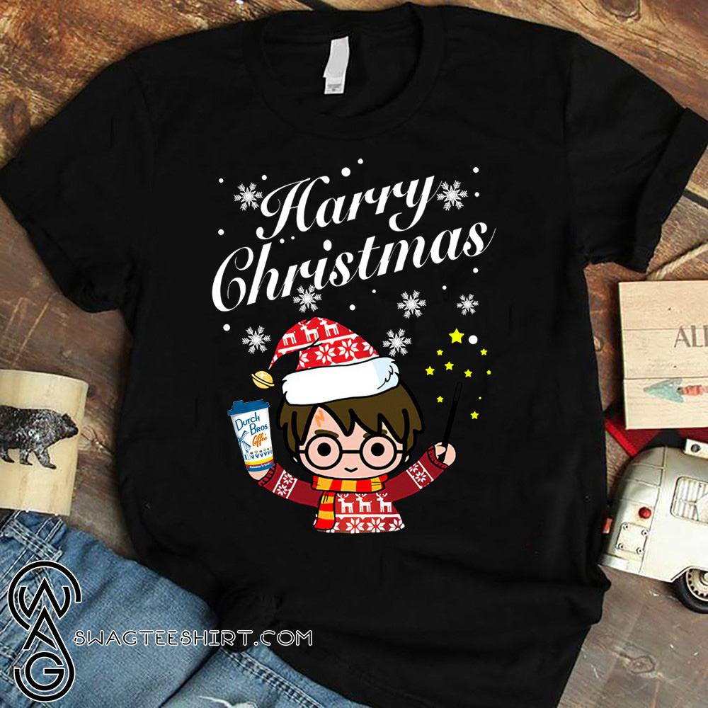 Harry potter holding dutch bros coffee harry christmas shirt