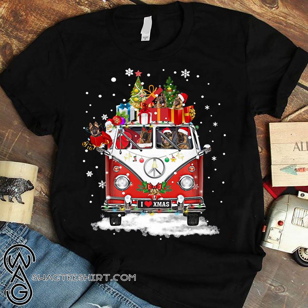 Hippie car german shepherd christmas shirt