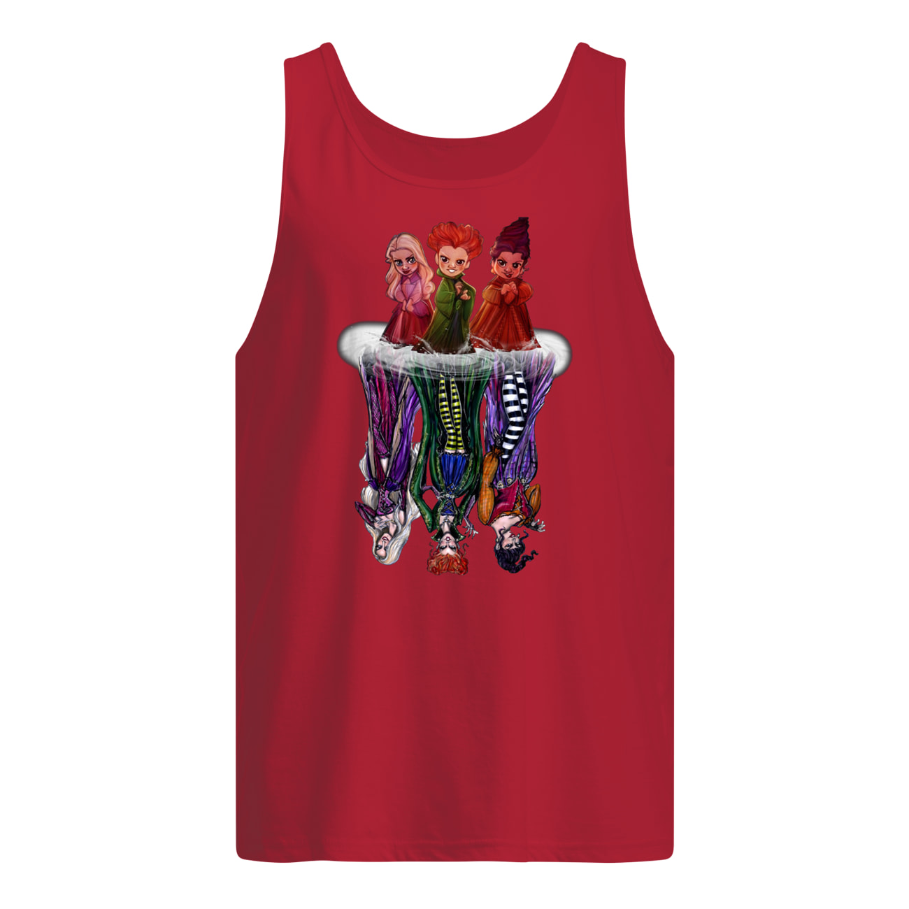 Hocus pocus characters chibi water reflection tank top