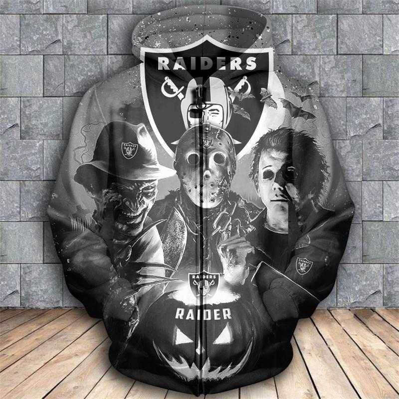 Horror movie characters oakland raiders 3d zipper hoodie - size l