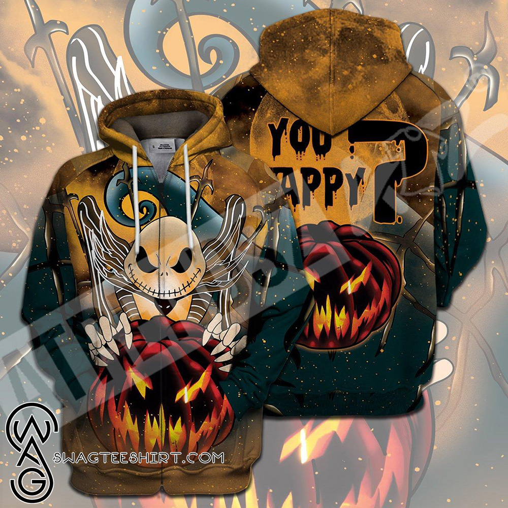 Jack skellington you happy halloween 3d zip hoodie