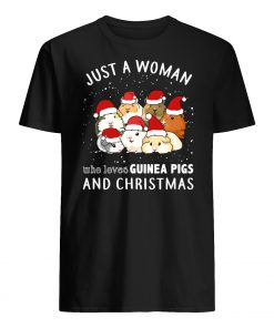 Just a woman who loves guinea pigs and christmas mens shirt