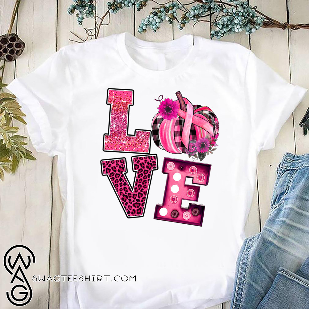 Love pink pumpkin breast cancer awareness month shirt