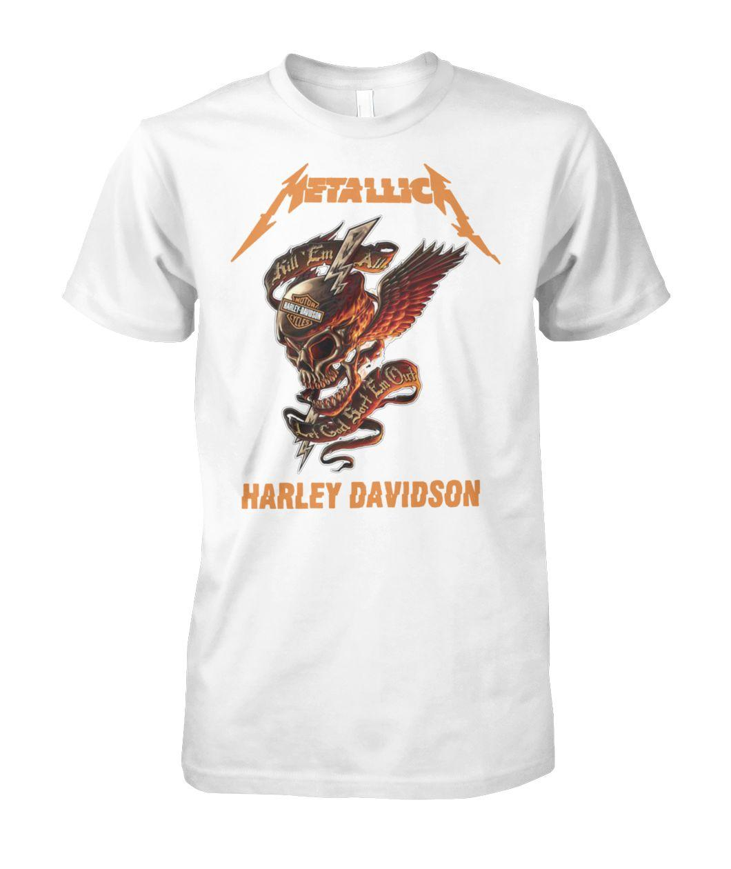 Metallica harley davidson kill em all unisex cotton tee