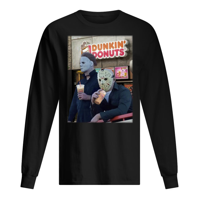 Michael myers and jason voorhees drink dunkin' donuts long sleeved